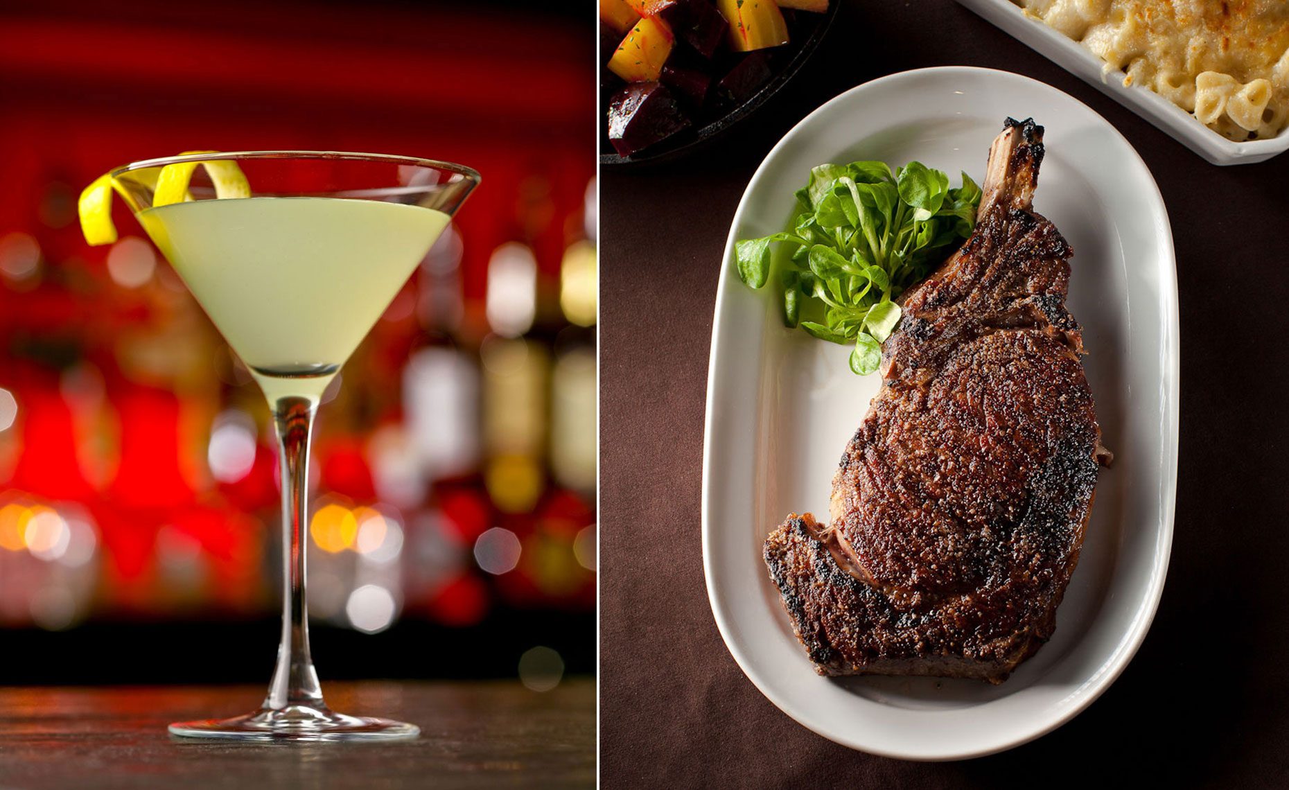 jeff-green-cocktail-with-lemon-twist-and-steak-entree