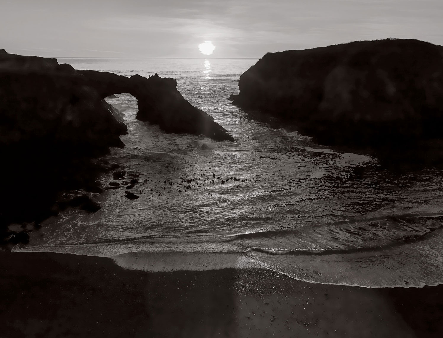 jeff-green-rocky-ocean-shore-at-sunset-california-black-and-white